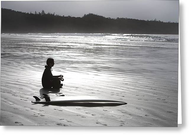 Shining Down Greeting Cards - Surfer Meditating On Beach, Cox Bay Greeting Card by Deddeda
