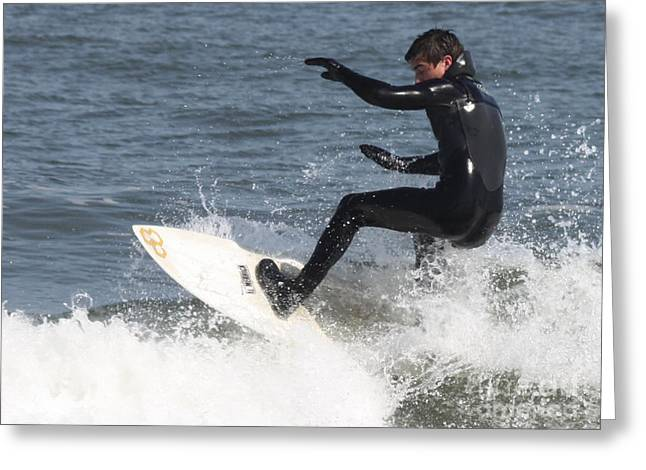 Surfer Art Greeting Cards - Surfer on White Water Greeting Card by John Telfer