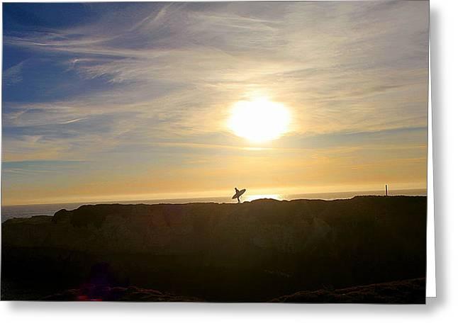 Steamer Lane Greeting Cards - Surfer Greeting Card by Robert Frandeen