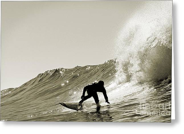 Surf Silhouette Greeting Cards - Surfer Sepia Silhouette Greeting Card by Paul Topp