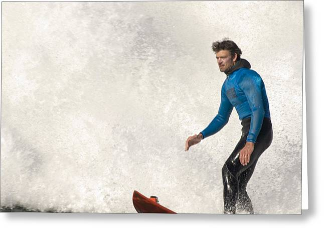 Surfing Contest Greeting Cards - Surfer Shawn Rhodes In Front Of A Crashing Wave Greeting Card by Scott Lenhart