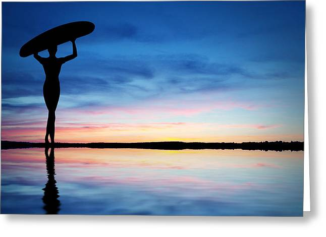 Surf Silhouette Greeting Cards - Surfer Silhouette Greeting Card by Aged Pixel