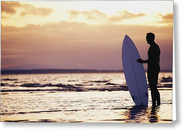 Surfer Silhouette Greeting Card by Daniel Sicolo
