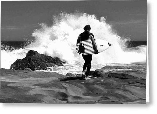 Surf Silhouette Digital Art Greeting Cards - Surfer Silhouette  Greeting Card by Simon Northcott