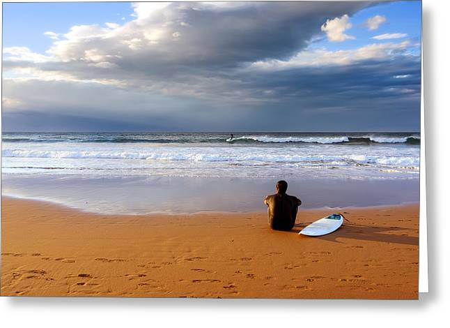 Surf Lifestyle Greeting Cards - Surfer Sitting And Relaxing On Sand Greeting Card by Mikel Martinez de Osaba