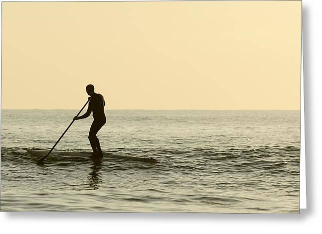 Surf Silhouette Greeting Cards - Surfer Steering Into Shore At Dusk Greeting Card by Ben Welsh