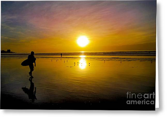 Surfer Art Greeting Cards - Surfer Sunset Greeting Card by Baywest Imaging