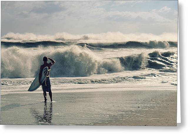 Kahuna Beach Greeting Cards - Surfer Watch Greeting Card by Laura Fasulo
