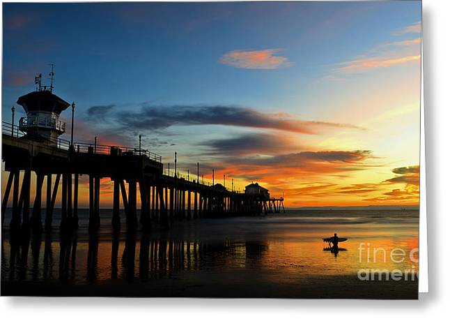 Southern California Sunset Beach Greeting Cards - Surfer Watching the Sunset Greeting Card by Peter Dang