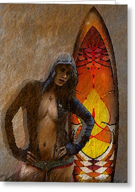 Kelly Mixed Media Greeting Cards - Surferbumart#421 Greeting Card by Vjkelly