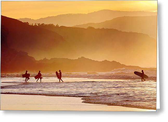 Surf Silhouette Greeting Cards - Surfers And Boogie Boards At Sunset Greeting Card by Mikel Martinez de Osaba