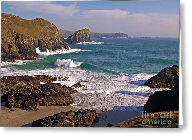 Surfers At Kynance Cove Greeting Card by Alex Cassels