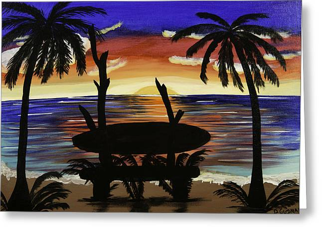 Etc. Paintings Greeting Cards - Surfers Bench Greeting Card by Donna Guzman