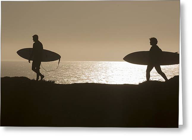 Santa Cruz Surfing Greeting Cards - Surfers Greeting Card by Brad Pietrzak