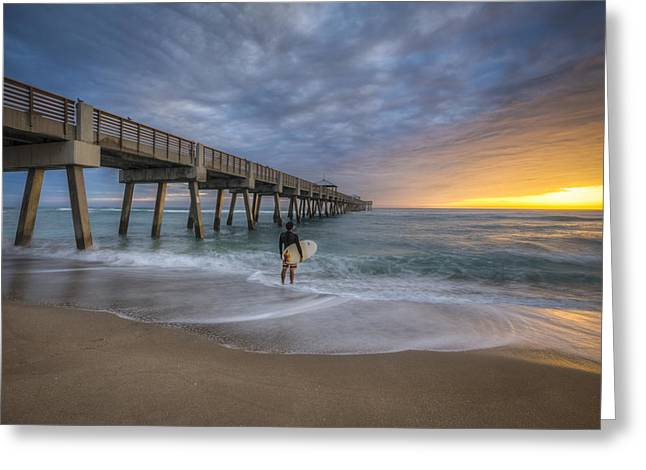 Surfer Art Greeting Cards - Surfers Dream Greeting Card by Debra and Dave Vanderlaan