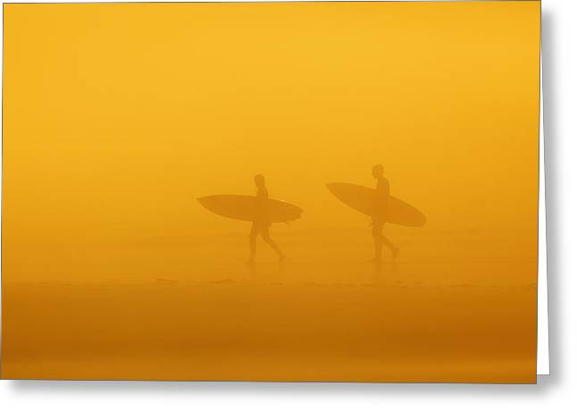 Surf Silhouette Greeting Cards - Surfers In The Fog On Long Beach Greeting Card by Ken Gillespie