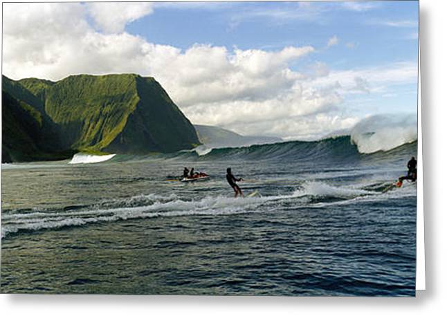 Surfers In The Sea, Hawaii, Usa Greeting Card by Panoramic Images