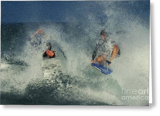 Wipe Out Greeting Cards - Surfers, Oahu Greeting Card by Ron Sanford