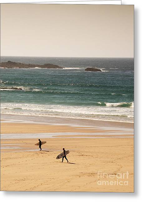 Beach Photos Digital Greeting Cards - Surfers on beach 01 Greeting Card by Pixel Chimp