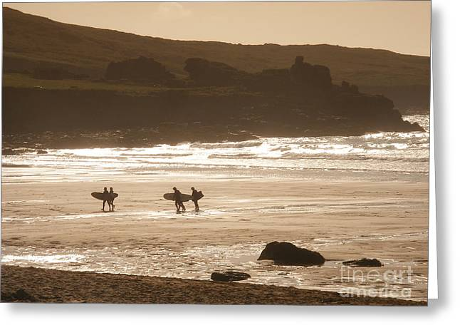 Surfing Photos Greeting Cards - Surfers on beach 02 Greeting Card by Pixel Chimp