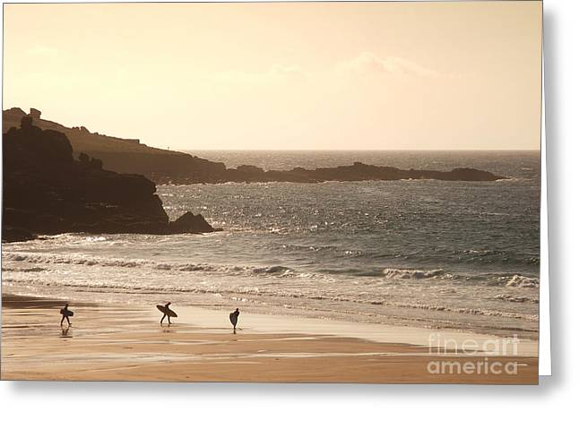 Surfing Photos Greeting Cards - Surfers on beach 03 Greeting Card by Pixel Chimp