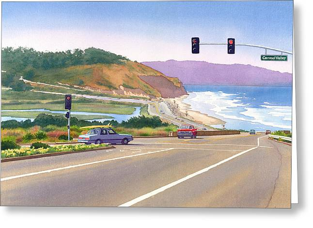 Pine Greeting Cards - Surfers on PCH at Torrey Pines Greeting Card by Mary Helmreich