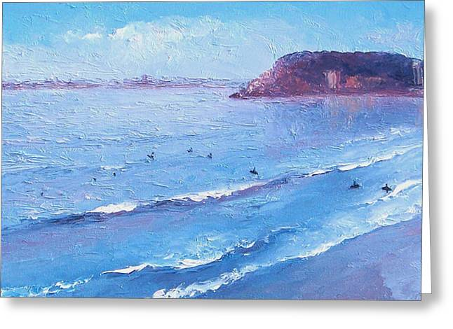 Surfing Art Greeting Cards - Surfers Paradise Burleigh Heads Greeting Card by Jan Matson