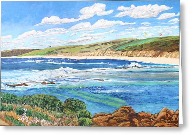 Kite Surfing Paintings Greeting Cards - Surfers Paradise Greeting Card by Larry Wilkinson