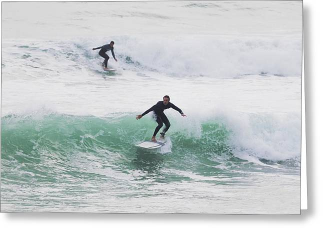 Exciting Surf Greeting Cards - Surfers Riding Waves Tarifa, Costa De Greeting Card by Ben Welsh