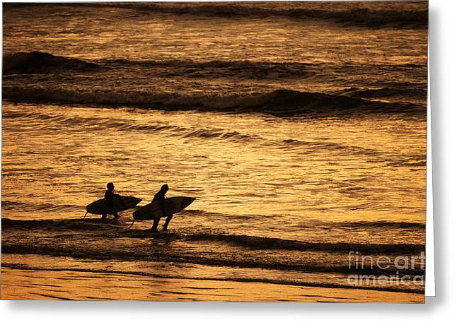California Beach Greeting Cards - Surfers Greeting Card by Ron Sanford