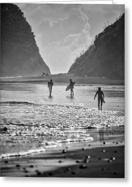 Monochrome Greeting Cards - Surfers Greeting Card by Russ Dixon