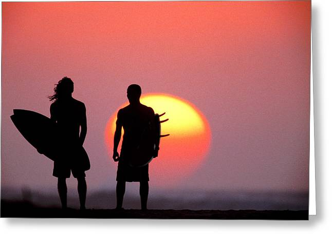 Silhouettes Greeting Cards - Surfers Sunset Greeting Card by Sean Davey
