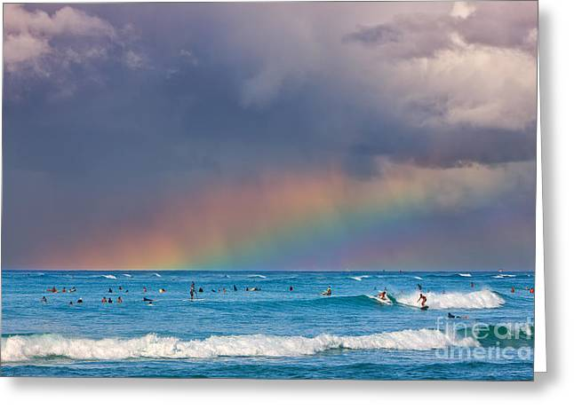 Acryl Greeting Cards - Surfers under the Rainbow Greeting Card by Henk Meijer Photography