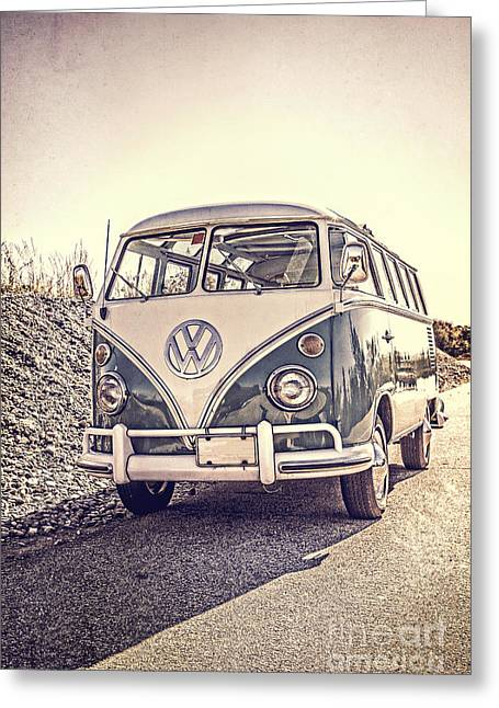 Hampshire Greeting Cards - Surfers Vintage VW Samba Bus at the beach Greeting Card by Edward Fielding