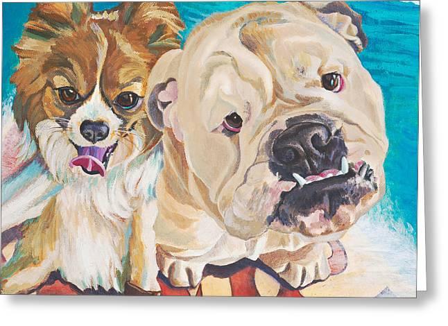 Chiwawa Greeting Cards - Surfin Dogs Laguna Beach Greeting Card by Lisa Hershman