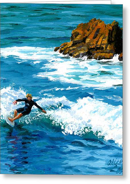 Heisler Park Greeting Cards - Surfin Laguna Rocks Greeting Card by Alice Leggett
