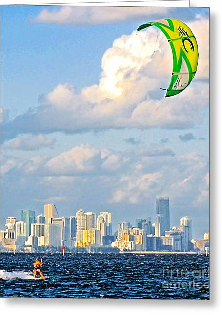 Surfin Greeting Cards - Surfin Miami II Greeting Card by Dieter  Lesche