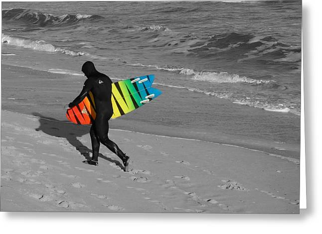 Kahuna Beach Greeting Cards - Surfing 431 Greeting Card by Joyce StJames