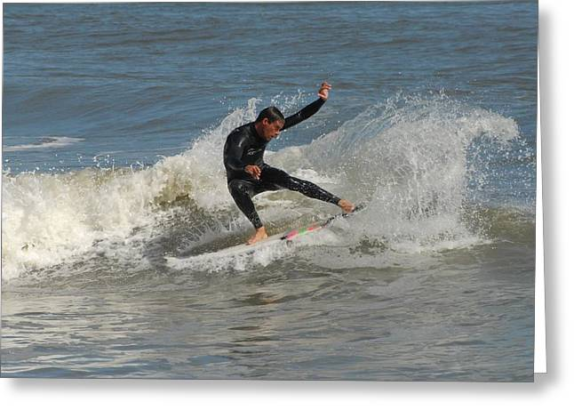 Kahuna Beach Greeting Cards - Surfing 436 Greeting Card by Joyce StJames