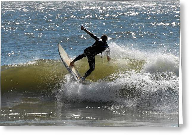 Kahuna Beach Greeting Cards - Surfing 442 Greeting Card by Joyce StJames