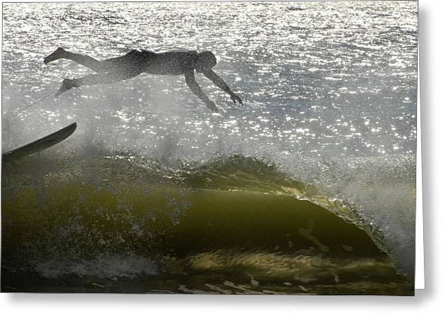Kahuna Beach Greeting Cards - Surfing 443 Greeting Card by Joyce StJames