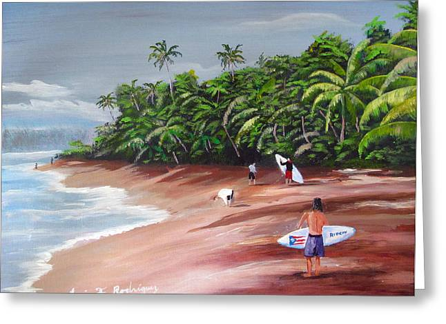 Rincon Paintings Greeting Cards - Surfing A La Rincon Greeting Card by Luis F Rodriguez