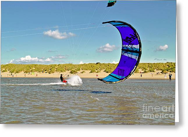 Kiteboarding Greeting Cards - Surfing after a tide in Delta Greeting Card by Maja Sokolowska