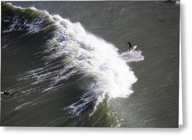 California Ocean Photography Greeting Cards - Surfing At Fort Point Viewed Greeting Card by Panoramic Images