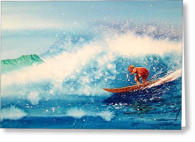 Surfing at HAWAII Greeting Card by John YATO