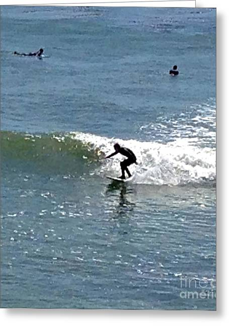 Santa Cruz Ca Greeting Cards - Surfing at Santa Cruz Greeting Card by Christy Gendalia