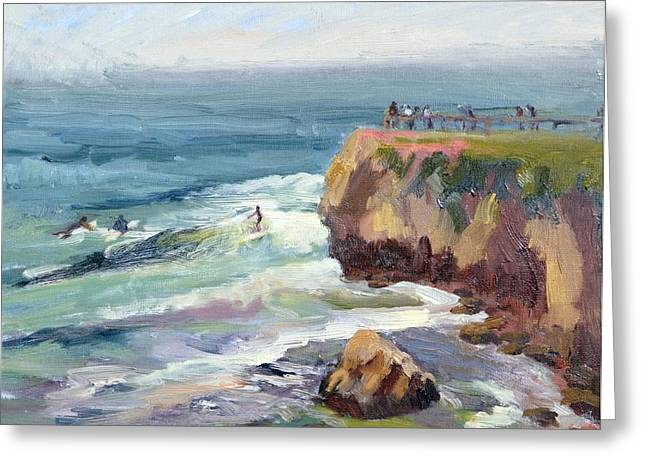 Steamer Lane Greeting Cards - Surfing at Steamers Lane Santa Cruz Greeting Card by Suzanne Elliott