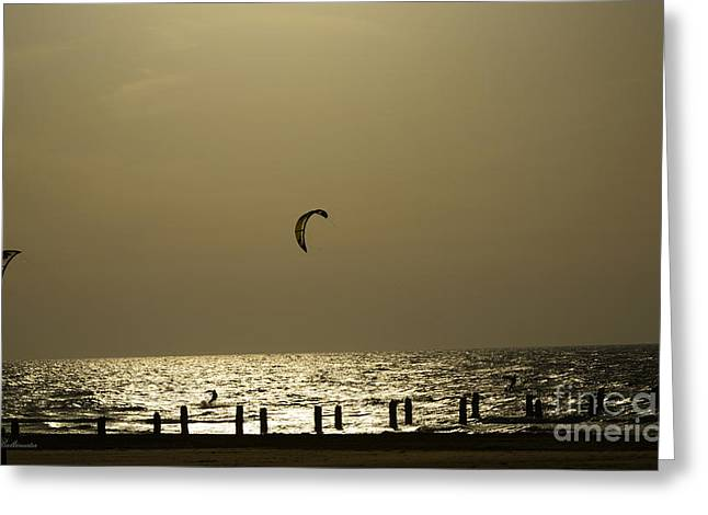 Surfing Photos Greeting Cards - Surfing at sunset 02 Greeting Card by Arik Baltinester
