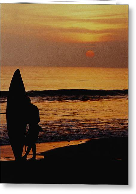 On The Beach Greeting Cards - Surfing at Sunset Greeting Card by Anonymous