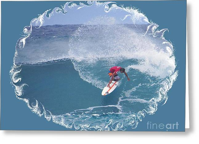 Surfing Photos Greeting Cards - Surfing at Sunset Beach Hawaii Greeting Card by Scott Cameron